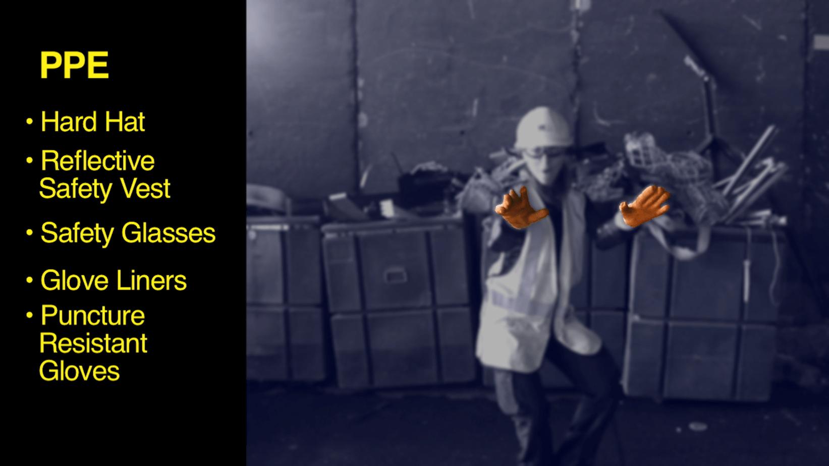 Waste Management training video still - PPE