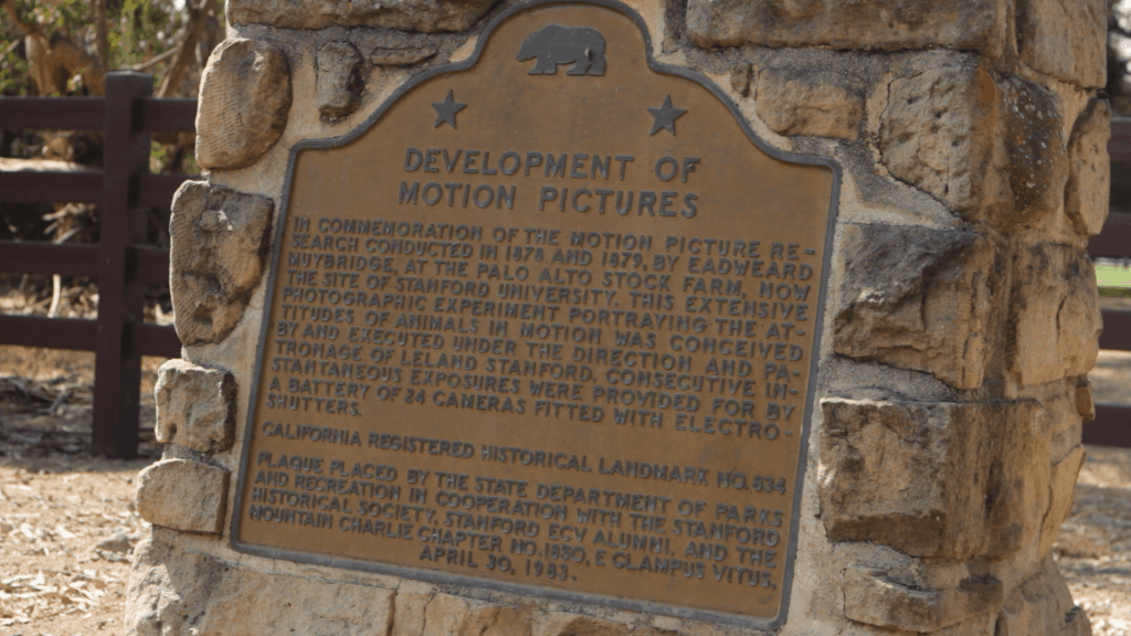 Plaque in Stanford (Palo Alto, California) commemorating the development of early motion pictures, courtesy of Equational Media